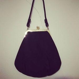 1950's black satin evening bag w/gold hinge